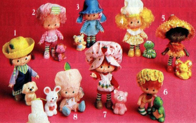 Set of Strawberry Shortcake dolls from 1982