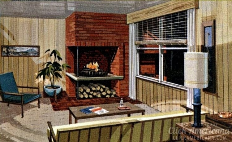 Seven room home plan from 1961 - Double fireplace 7110