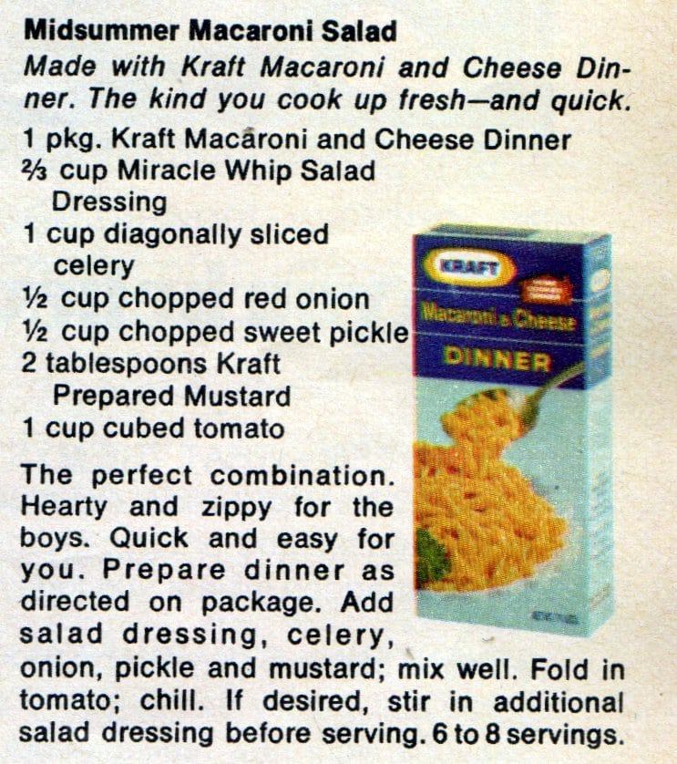 Seventeen July 1970 Midsummer macaroni salad recipe