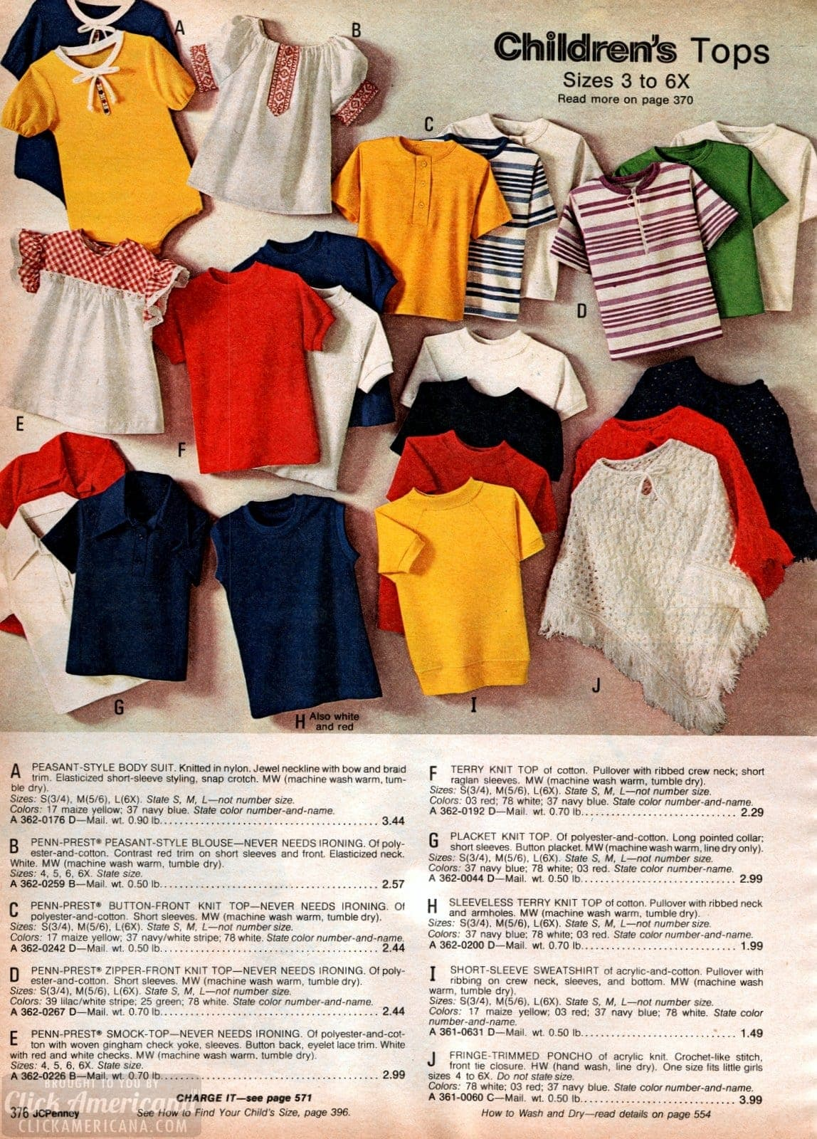 Seventies fashion for girls - Zipper-front knit tops and fringe-trimmed ponchos
