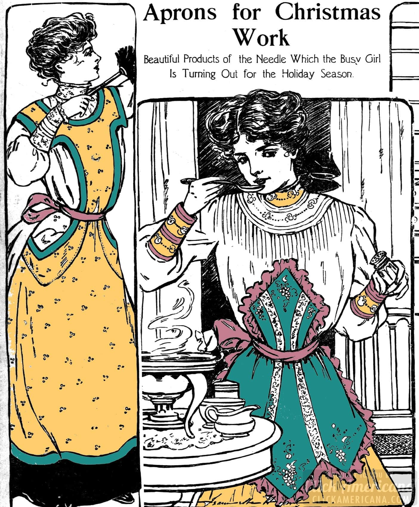 Sew & embroider some aprons for Christmas (1905)