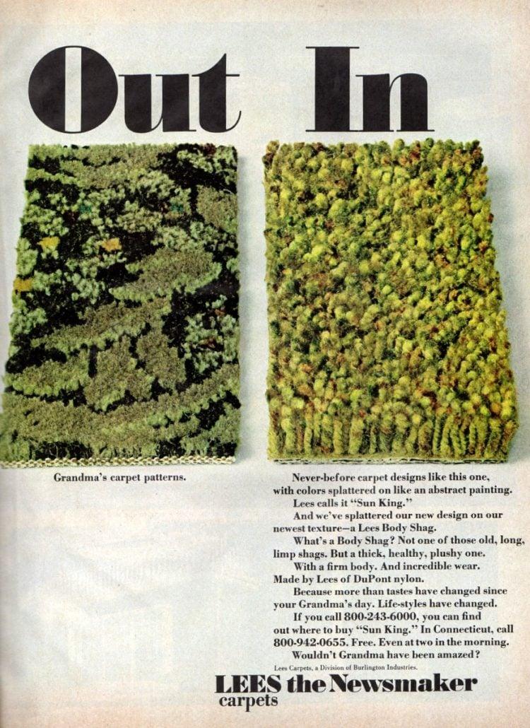 Shag carpet Out Grandma's carpet patterns(1972)