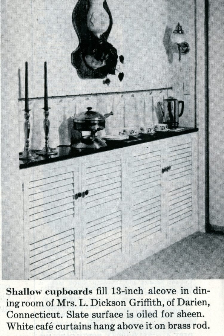 Shallow cupboards for an alcove - Vintage home decor from 1959