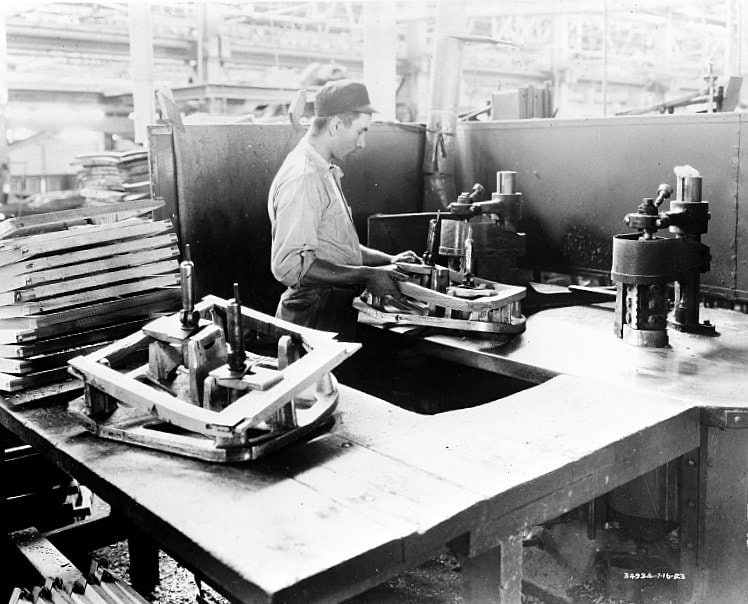 Shaping the doors - Car manufacturing c1923