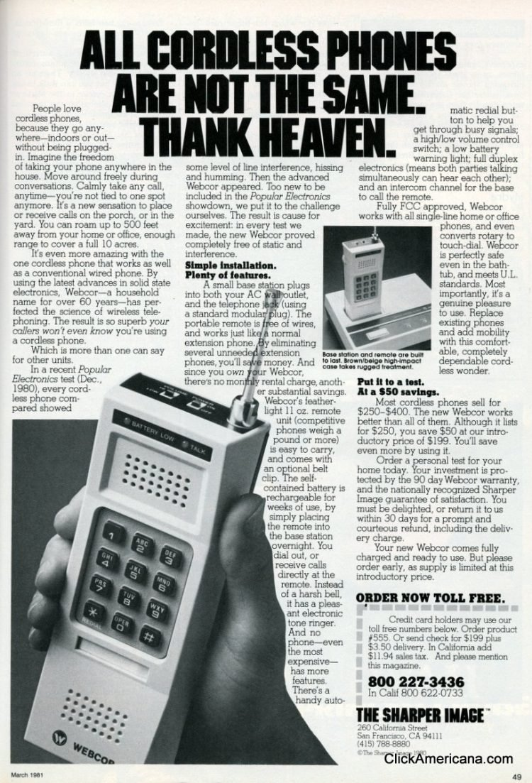 Sharper Image cordless phone from 1977