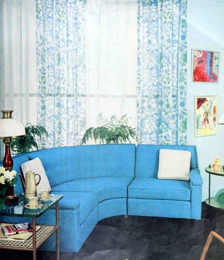 Sheer curtains with a blue pattern