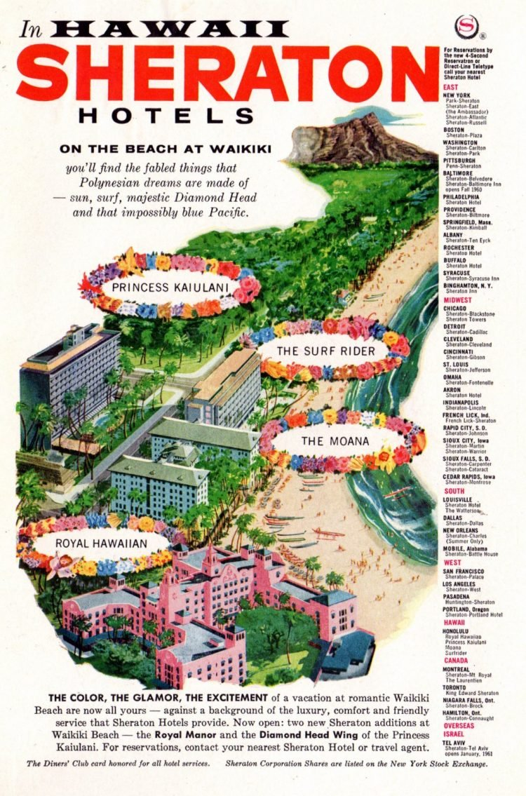 Sheraton hotels in Hawaii in 1960