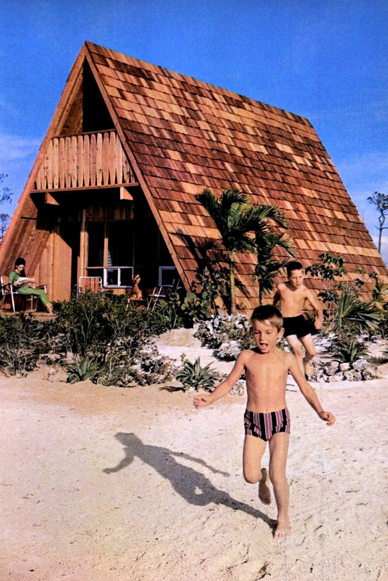 Shingled A-frame house design from the sixties