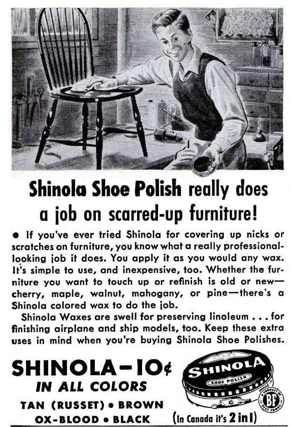 Shinola shoe polish for furniture 1945