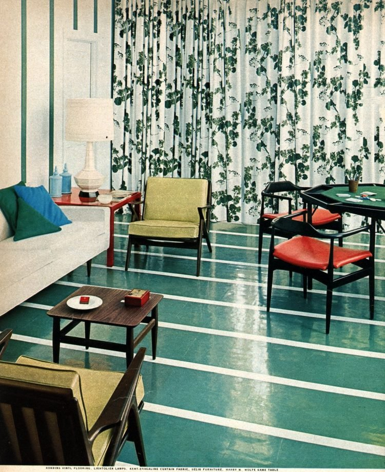Shiny green retro flooring from the 1950s