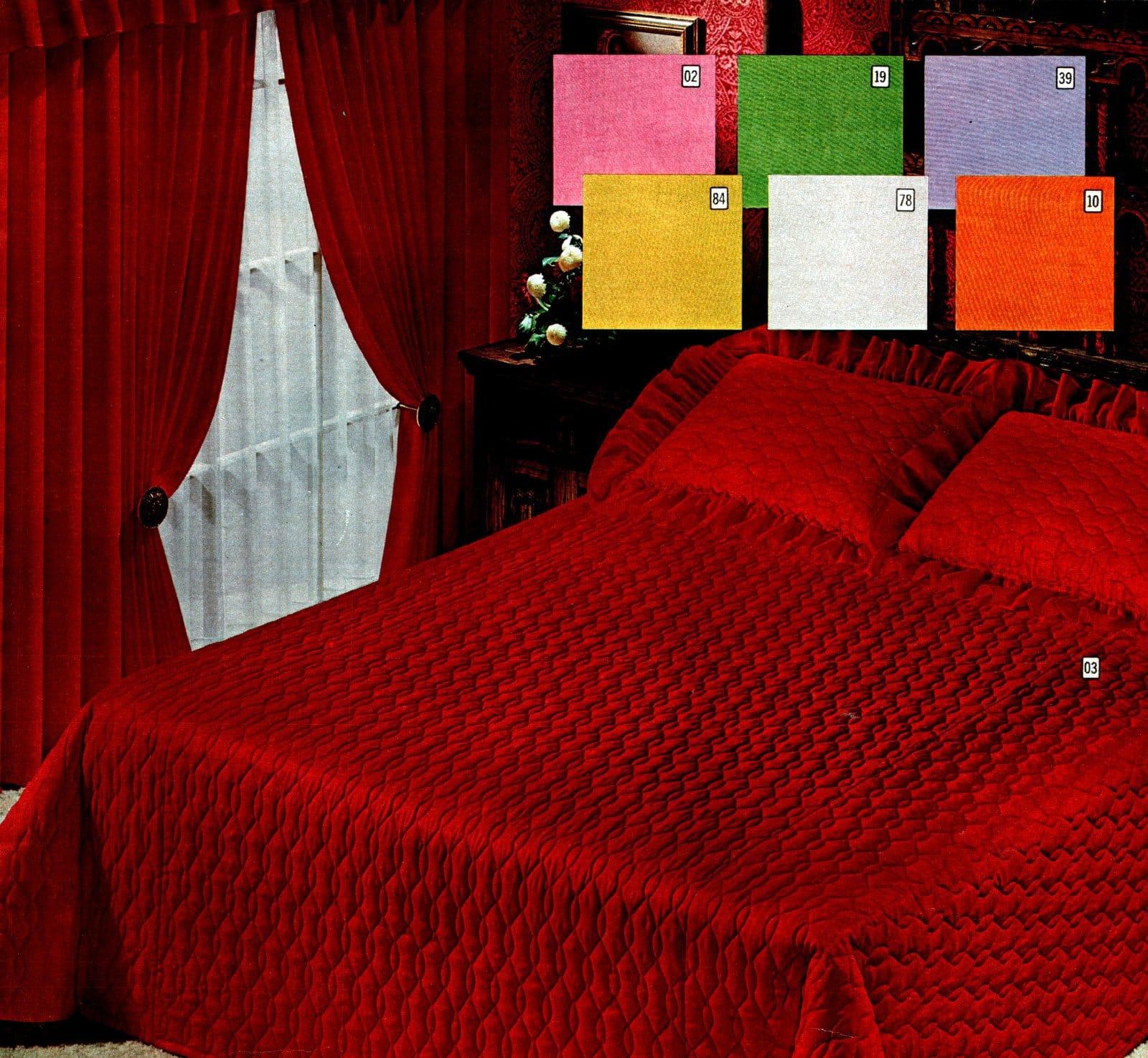 Shiny satiny deep red retro bedspread