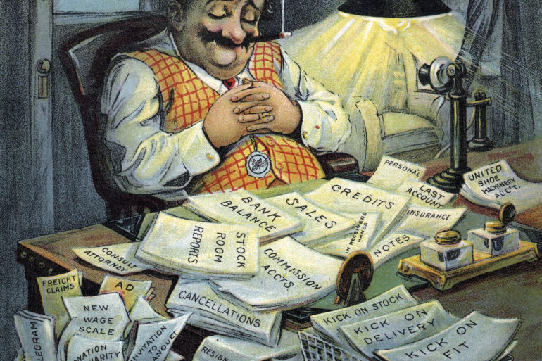Shoe salesman and business reports - 1915