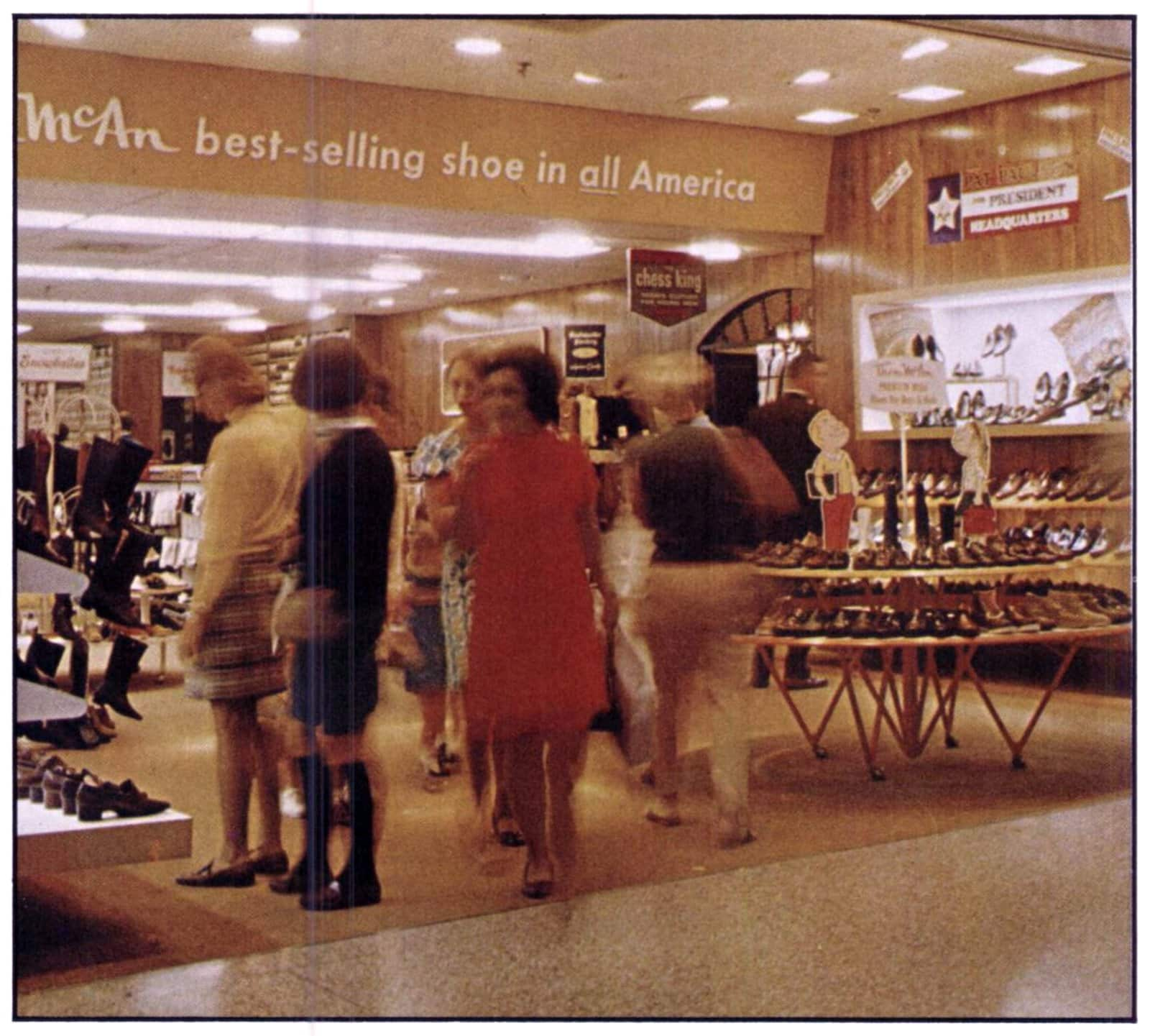 Shoe shopping at Thom McAn store (1968)