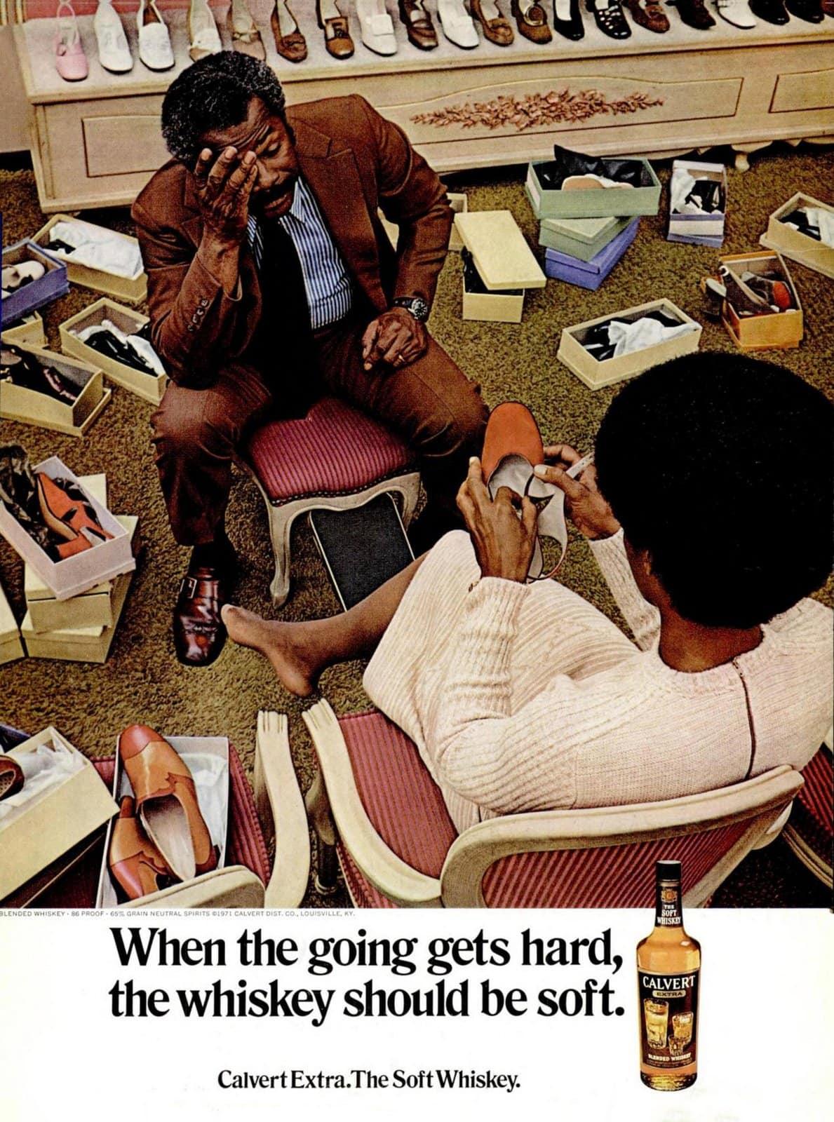 Shoe shopping in 1971 (Calvert Whiskey)