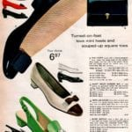Mini-heels and souped-up square toe leather and vinyl patent shoes for women in the '60s