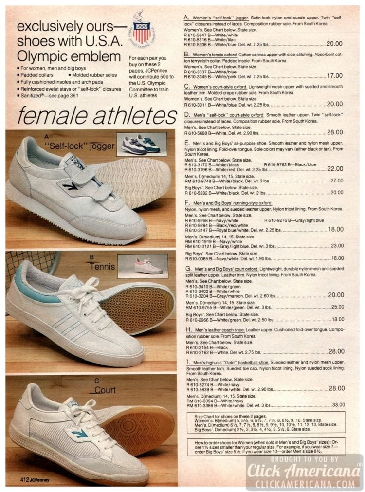 Vintage tennis shoes, joggers and court athletic shoes - oxfords, running shoes and more