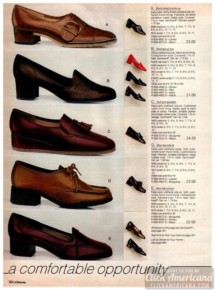 Vintage moc-toe Oxfords with laces, urethane slip on shoes, pumps and other comfortable shoes for women