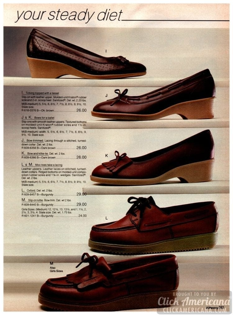 Retro preppy shoes in dark brown - with tassels and bows and rubber soles