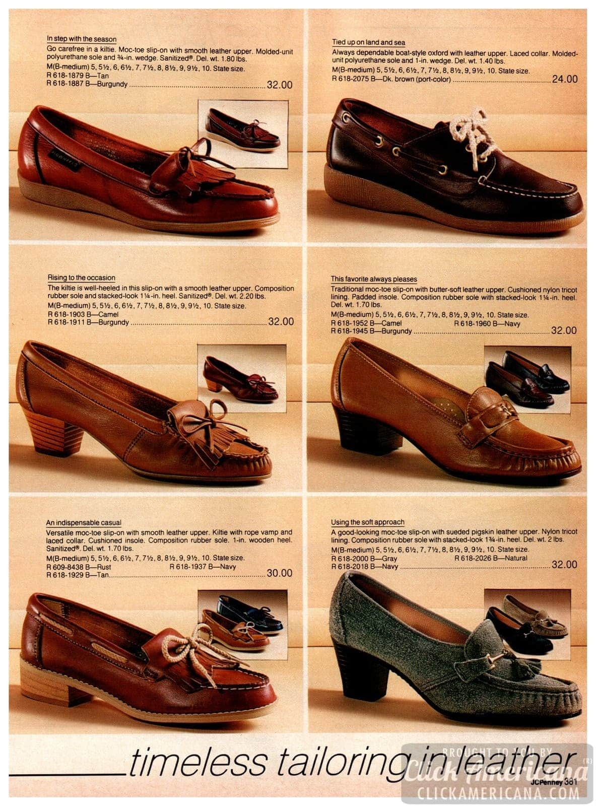 Conservative vintage moccasins and low-heeled slip-on shoes in neutral colors - Retro footwear for ladies