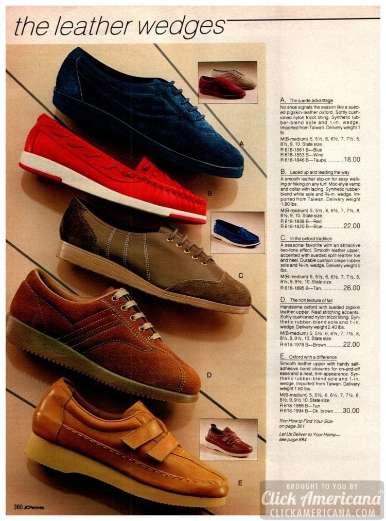 Vintage suede sneakers, athletic shoes, wedges and oxfords for women