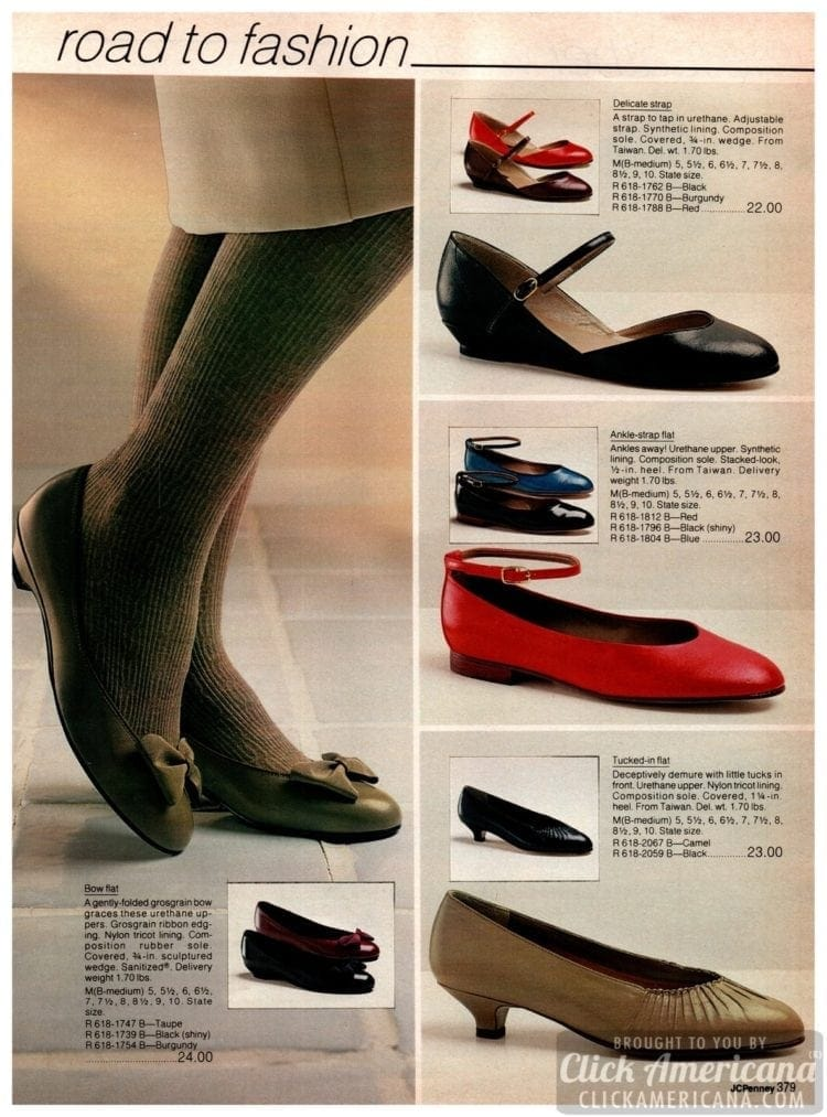 Fashionable ballet flats, ankle-strap flats, kitten heels and bow flat shoes from the '80s