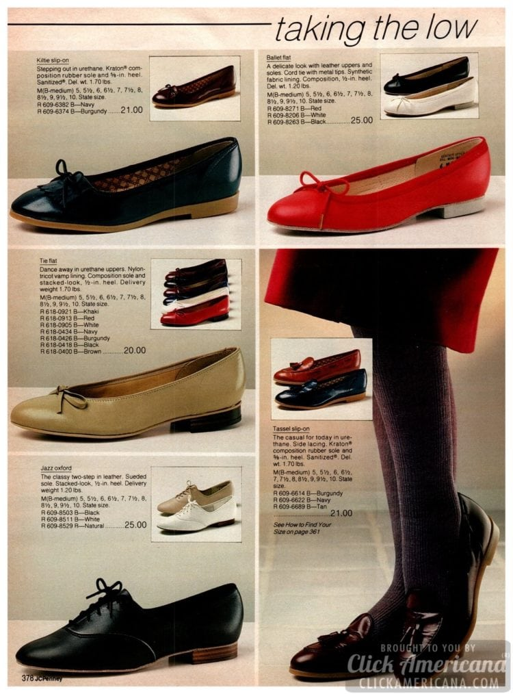 Ballet flats from the eighties and low heels - plus jazz shoes, tassel slip-ons and other simple shoes for ladies