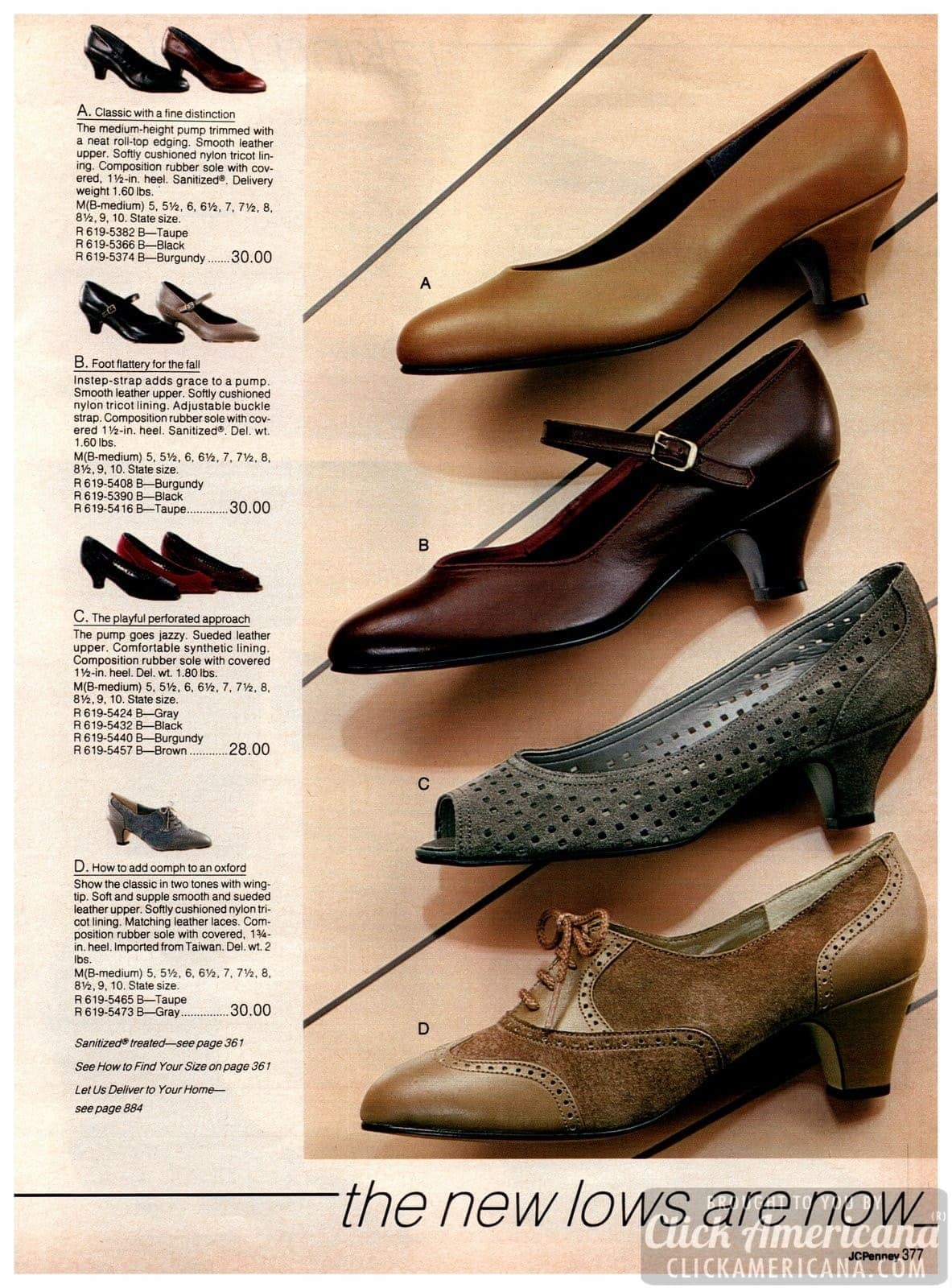 Low-heel shoes from the '80s - pump with sueded leather, wingtips with laces, straps, classic medium-height pumps for ladies