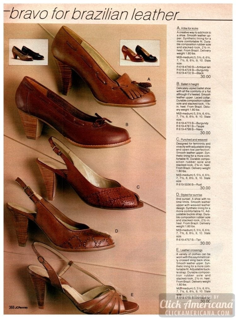 Brown preppy shoes with wooden heels with leather uppers