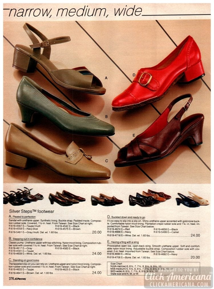 Low-heeled vintage shoes for women - Silver Steps footwear with buckles and slip-ons