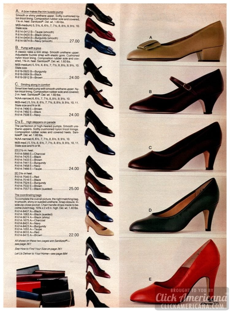 Vintage '80s pumps for women - heels with bows, straps, smooth urethane uppers and rubber soles