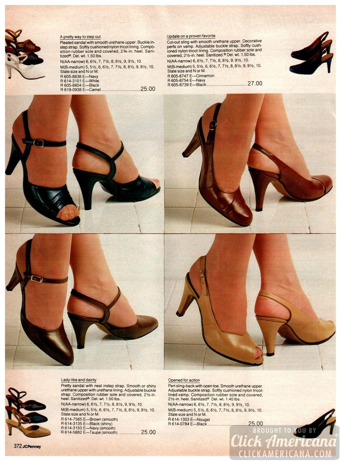 Retro '80s party shoes for ladies - strappy heels and slinkbacks in cinnamon, navy, black, white and camel