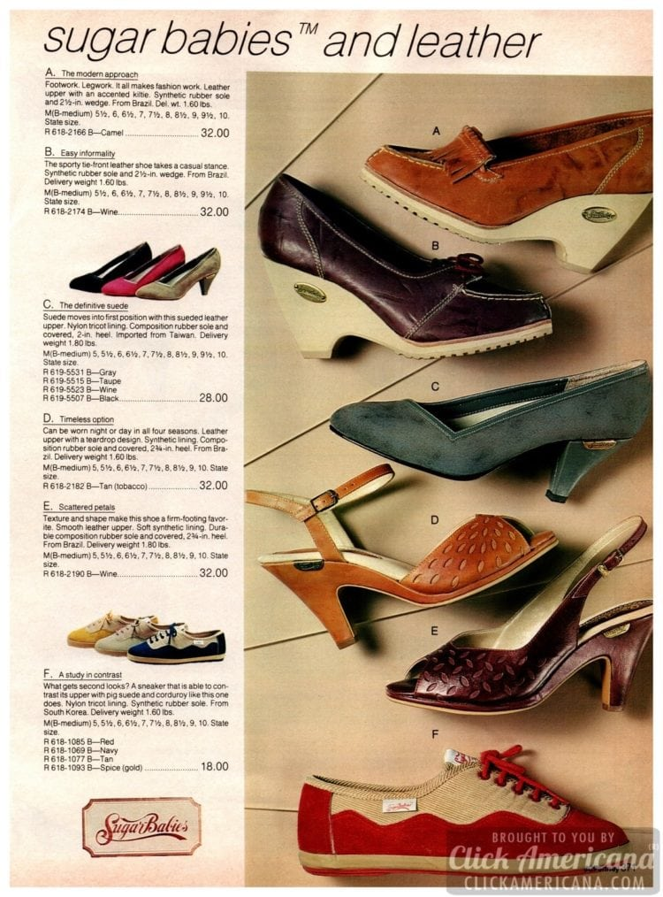 Vintage Sugar Babies shoes and leather - modern shoes with rubber soles, heels, cut-outs and suede