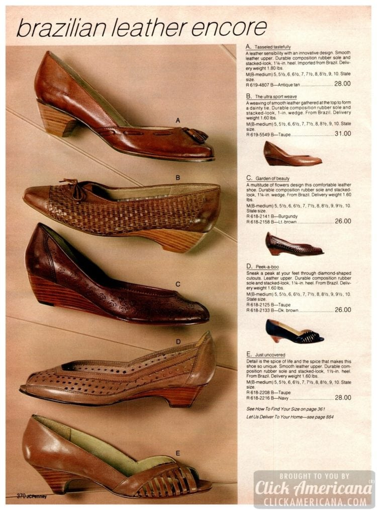 Brazilian leather low-heeled and kitten-heel vintage ladies' shoes in brown and beige colors