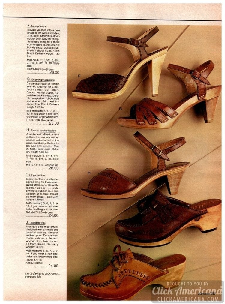 Chunky wooden-soled vintage heels for women - high heels and stylish brown clogs with leather uppers