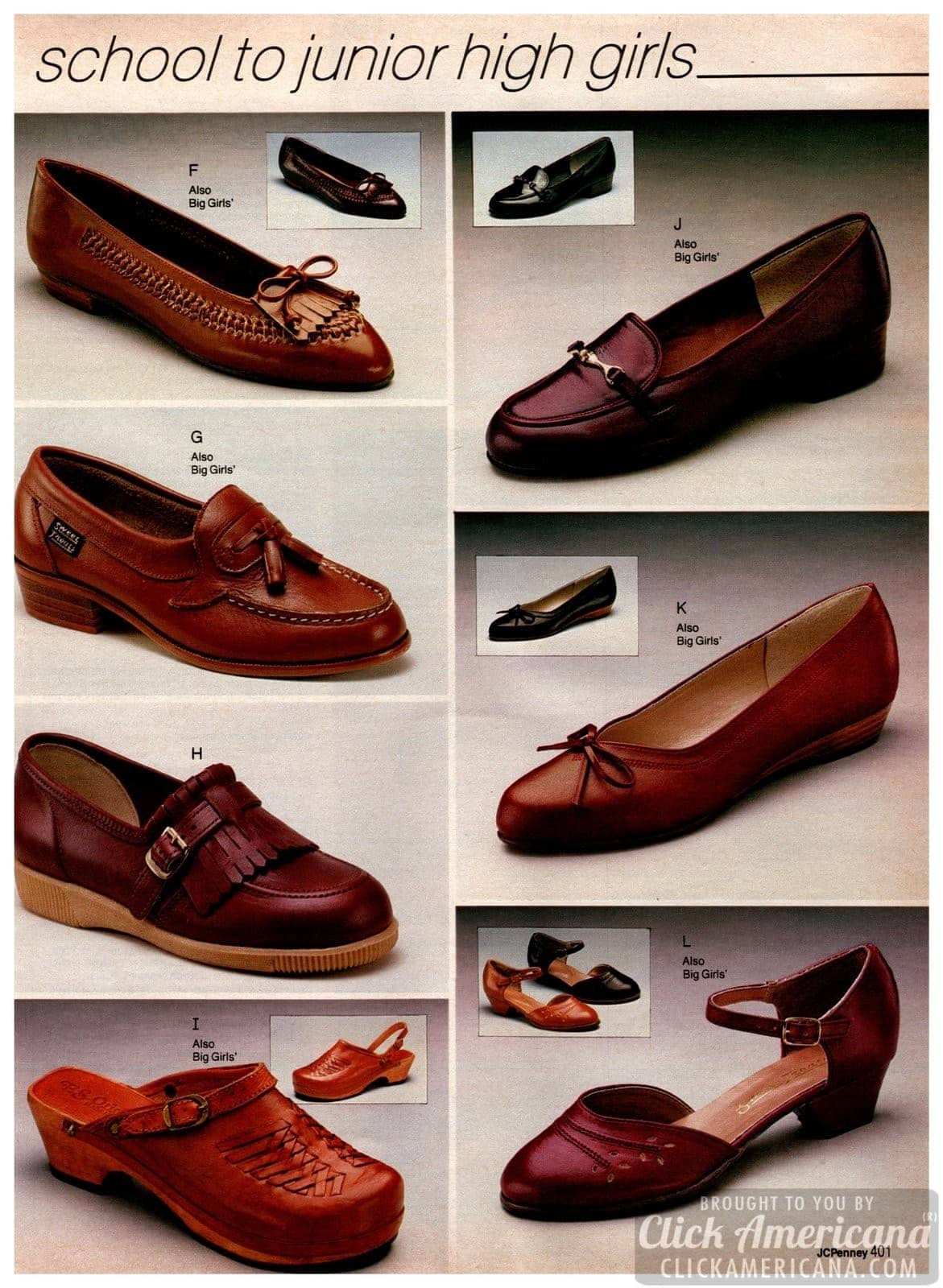 Preppy shoes for junior high girls - brown, tan and beige leather shoes