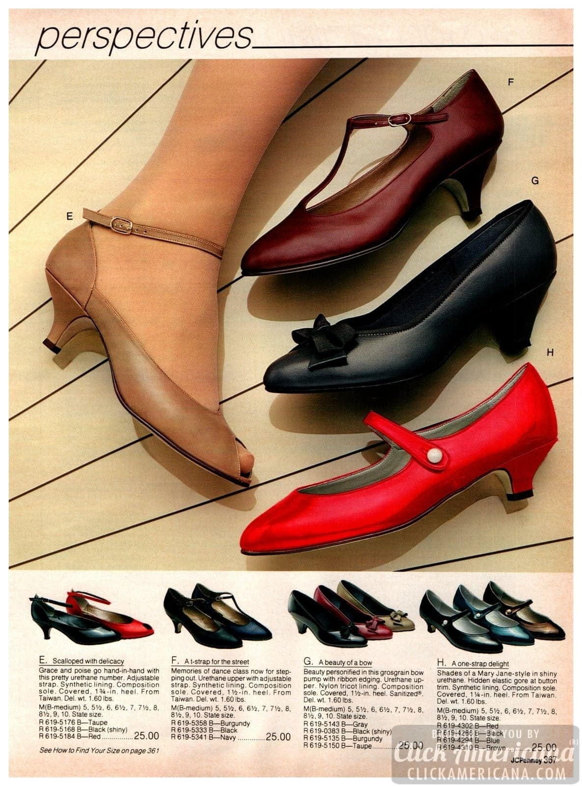 Vintage T-strap shoes, bow-toe heels and strappy low-heel pumps for ladies