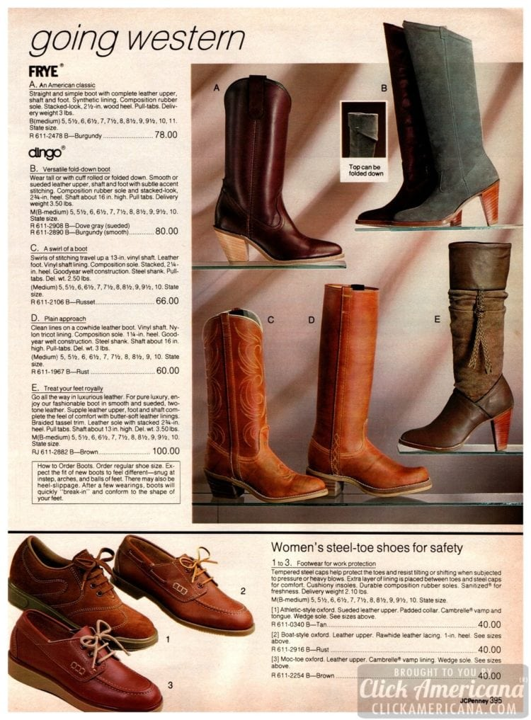 Western boots, steel-toe shoes for work, and other high-heel vintage boots for women