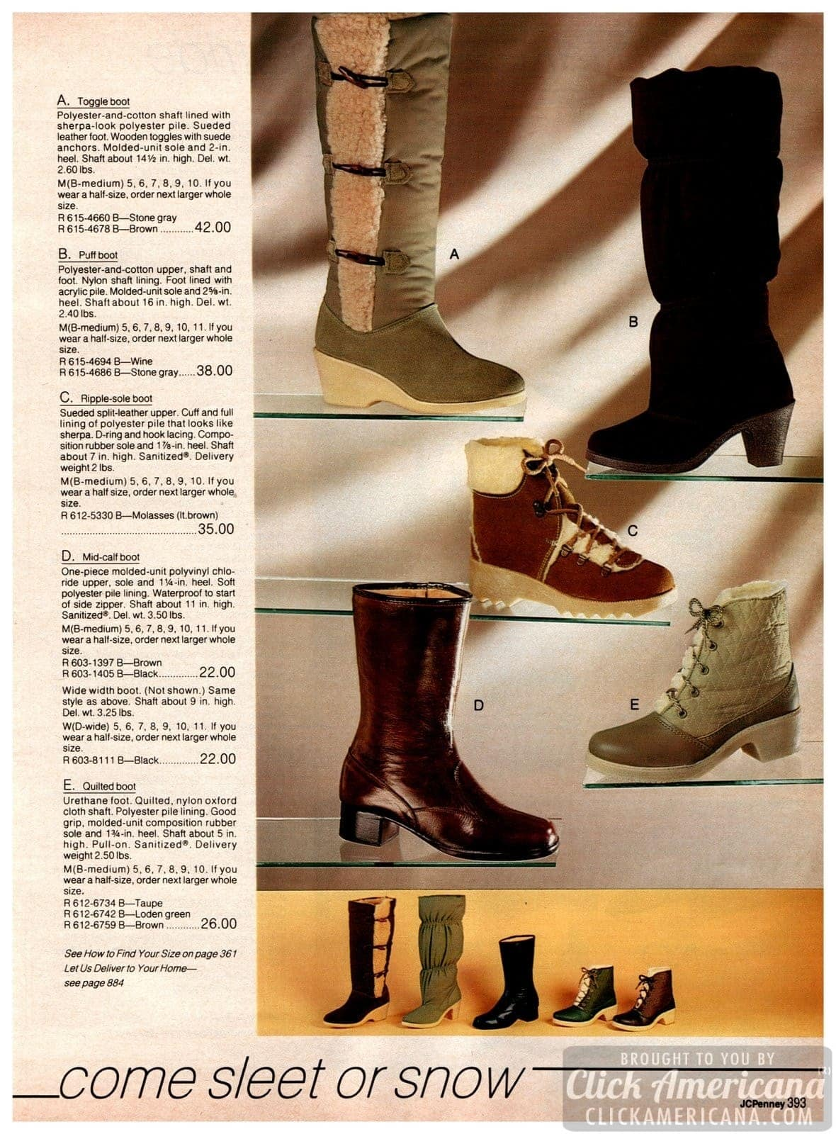Wintery cold-weather boots - toggle boots, puff, ripple sols, mid-calf and quilted-look boots