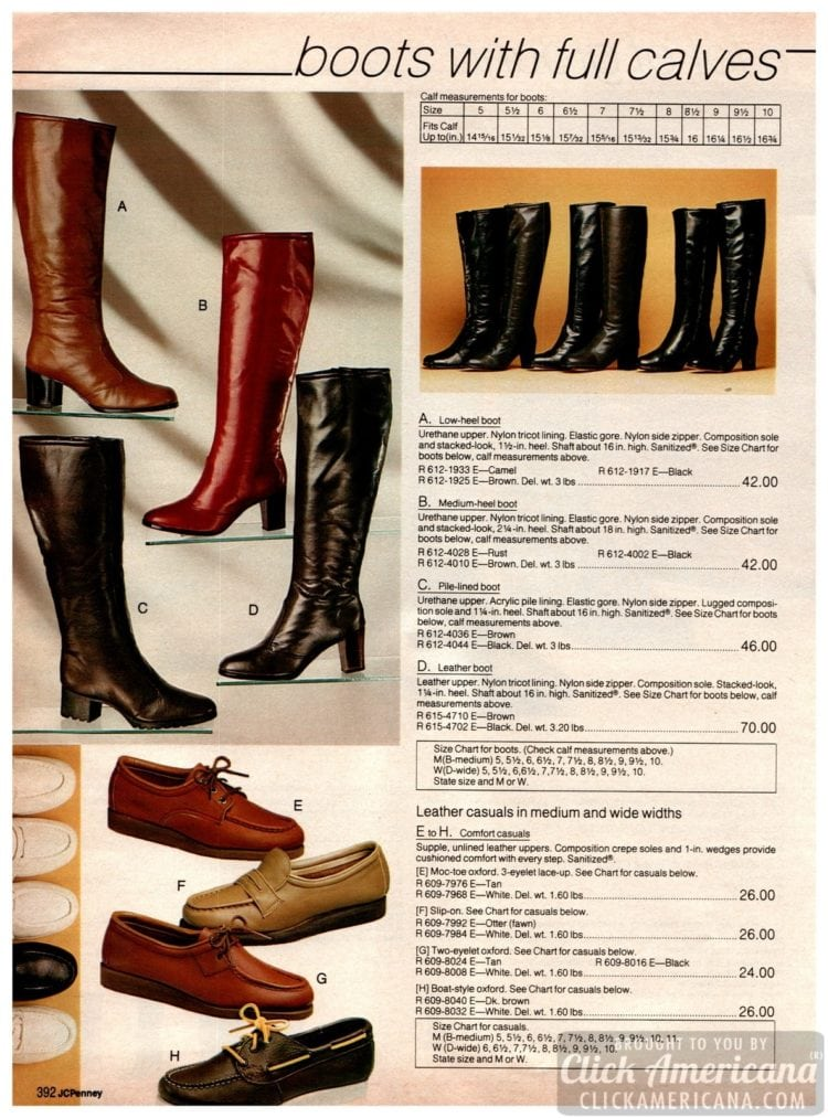 Vintage '80s boots and leather casual shoes for women