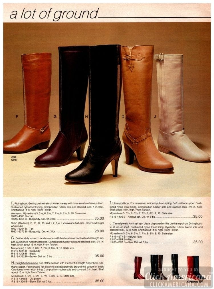 Vintage riding boots, fan-stitched urethane boots, feminine full-length zipper boots and sports boots