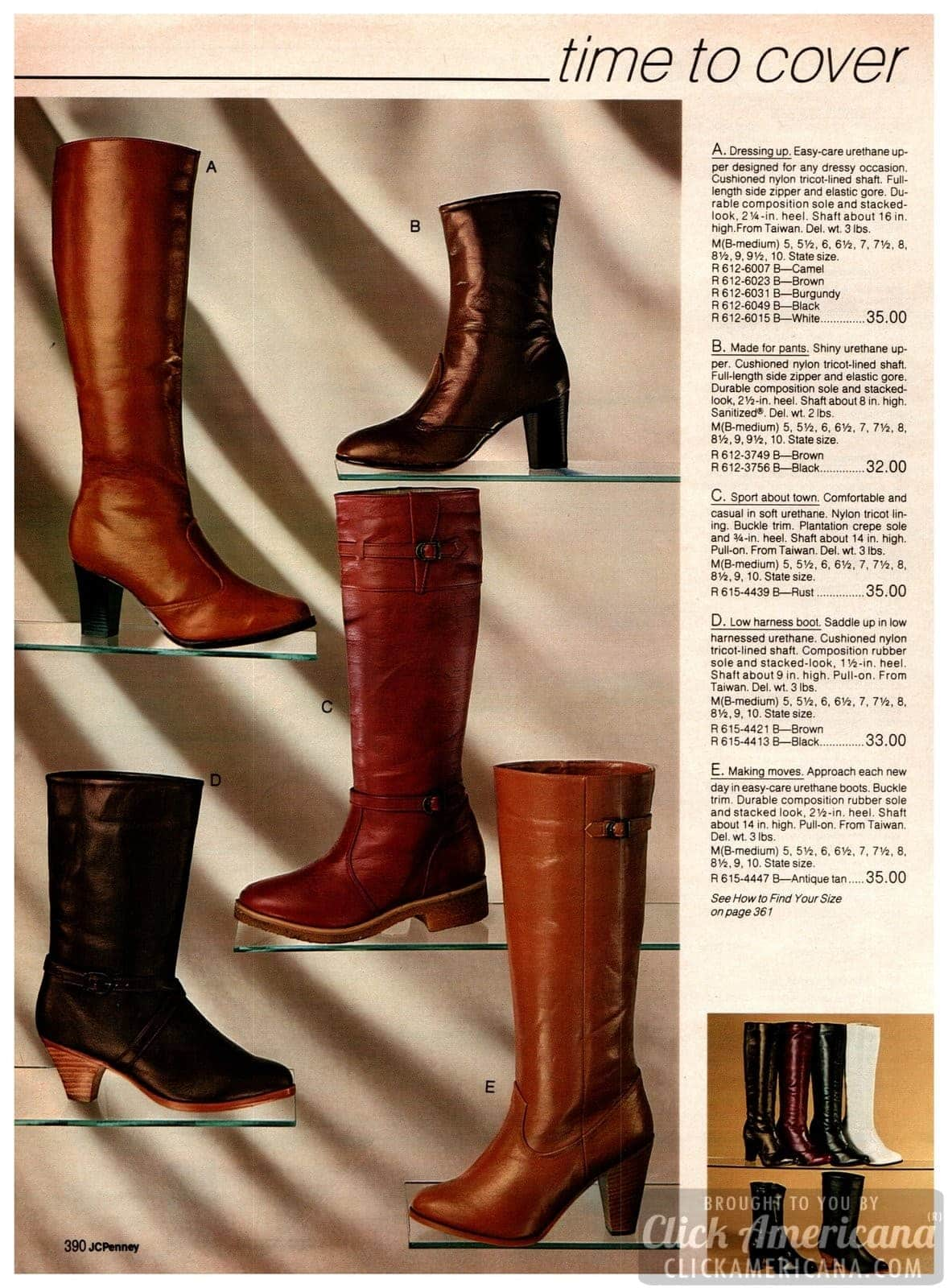Brown boots for women - wedge, high and short heels in leather-look neutrals