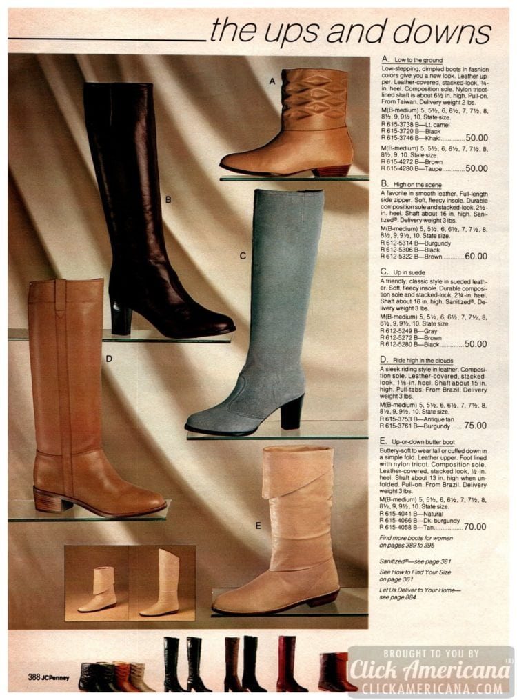 Vintage '80s boots - dimpled boots, full-length, half-length and up or down butter boots