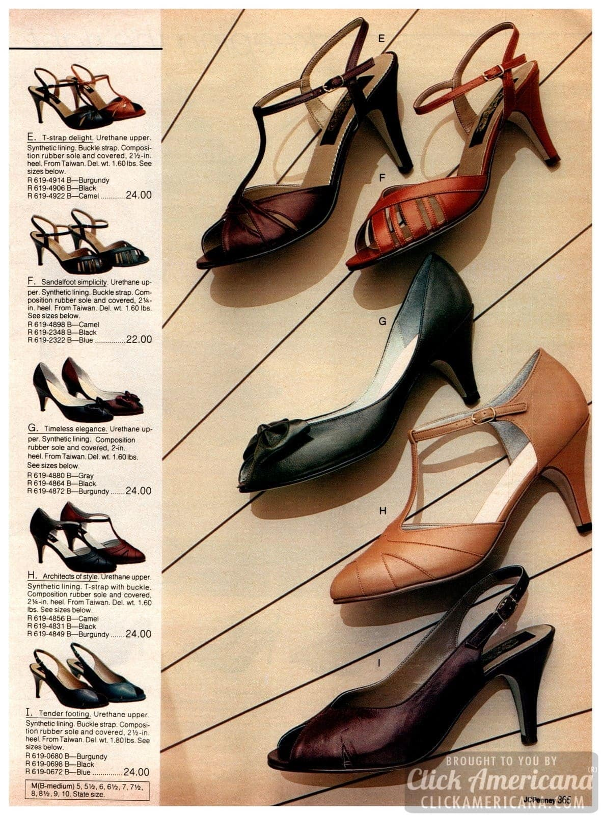 Retro '80s T-strap sandals, high and low heels, and pumps with bow fronts