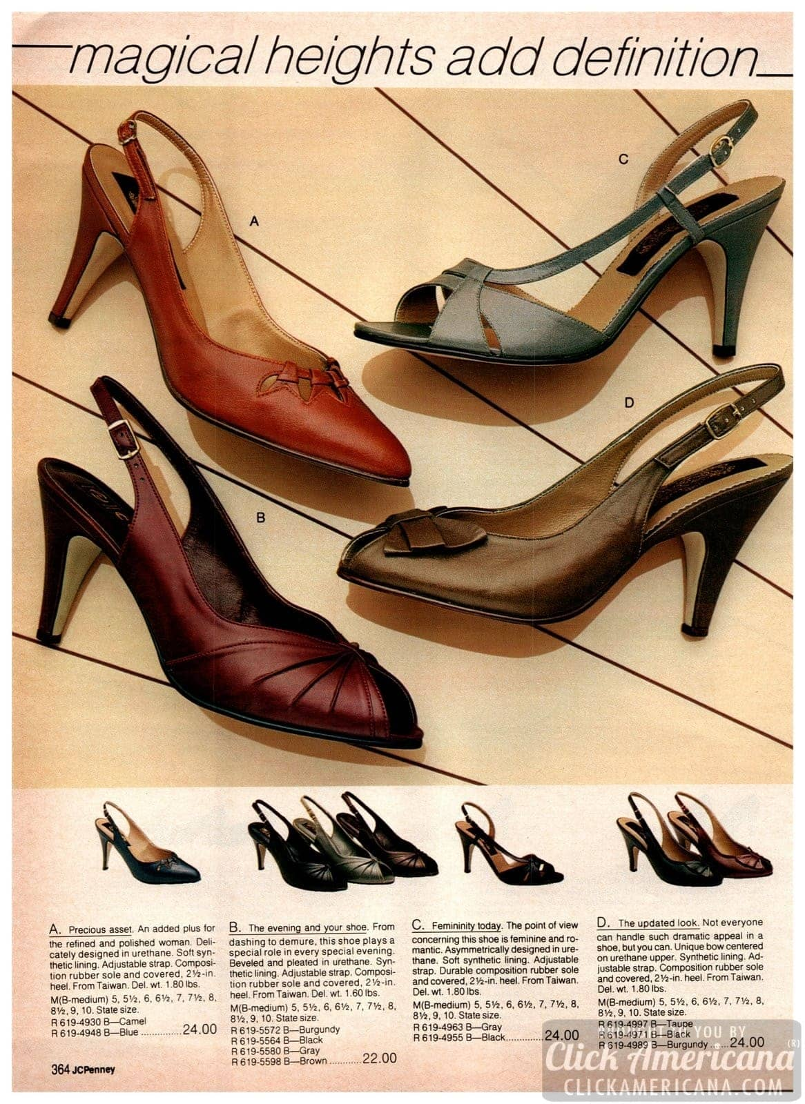 Vintage strappy slingback pumps with 2-1/2 inch heels - feminine and romantic styles