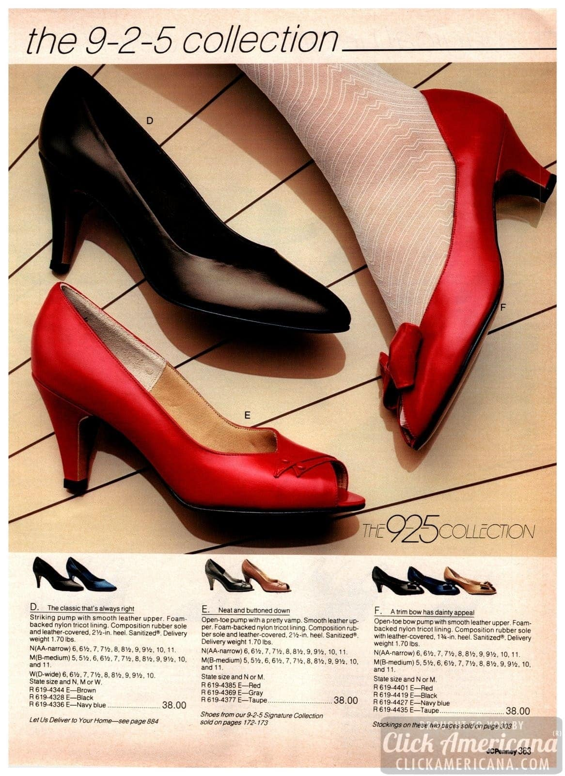 Work shoes and heels from the eighties: classic pumps, open-toe pumps and medium-height heels