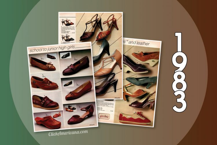 Trendy \u002780s women\u0027s shoes from the 1983 JC Penney catalog