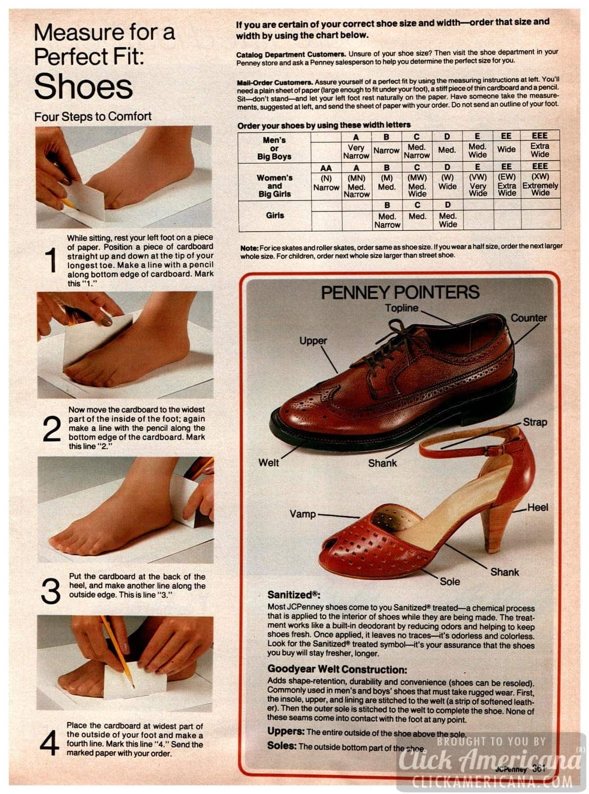 '80s info on how to measure your feet for shoes - men and women