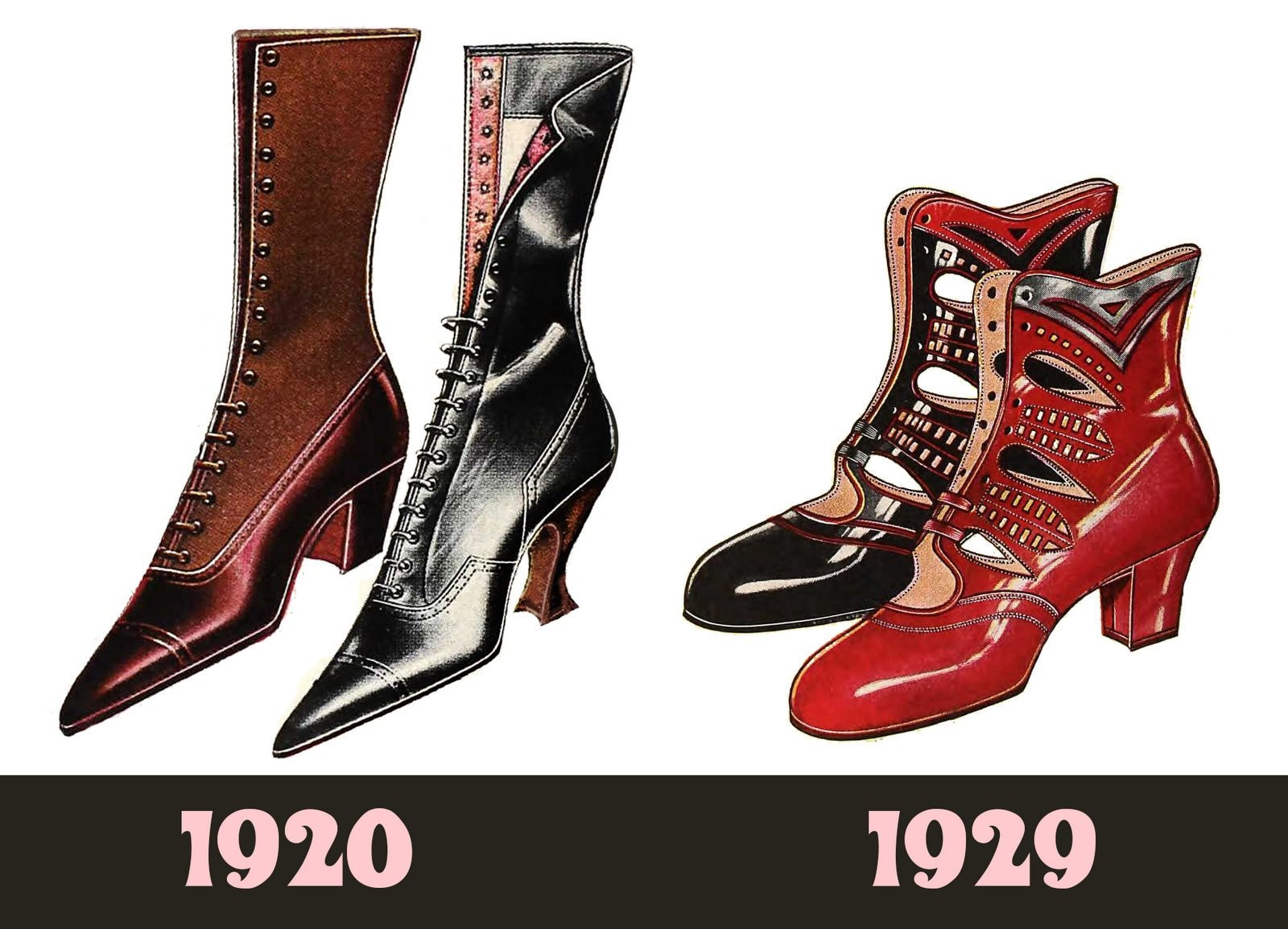 Shoes from 1920 vs 1929