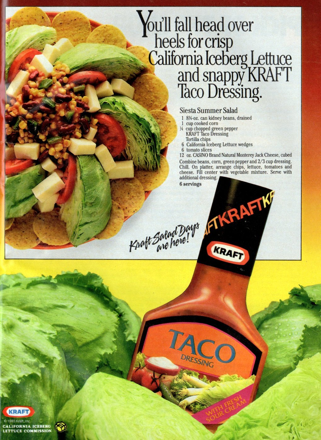 Siesta summer salad - Retro taco dressing recipe (1985)