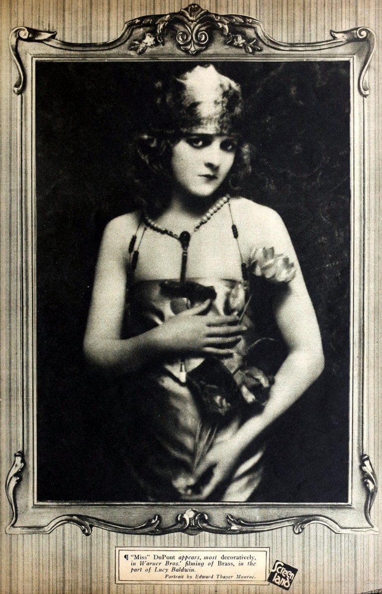Silent movie actress Miss DuPont from the 1920s